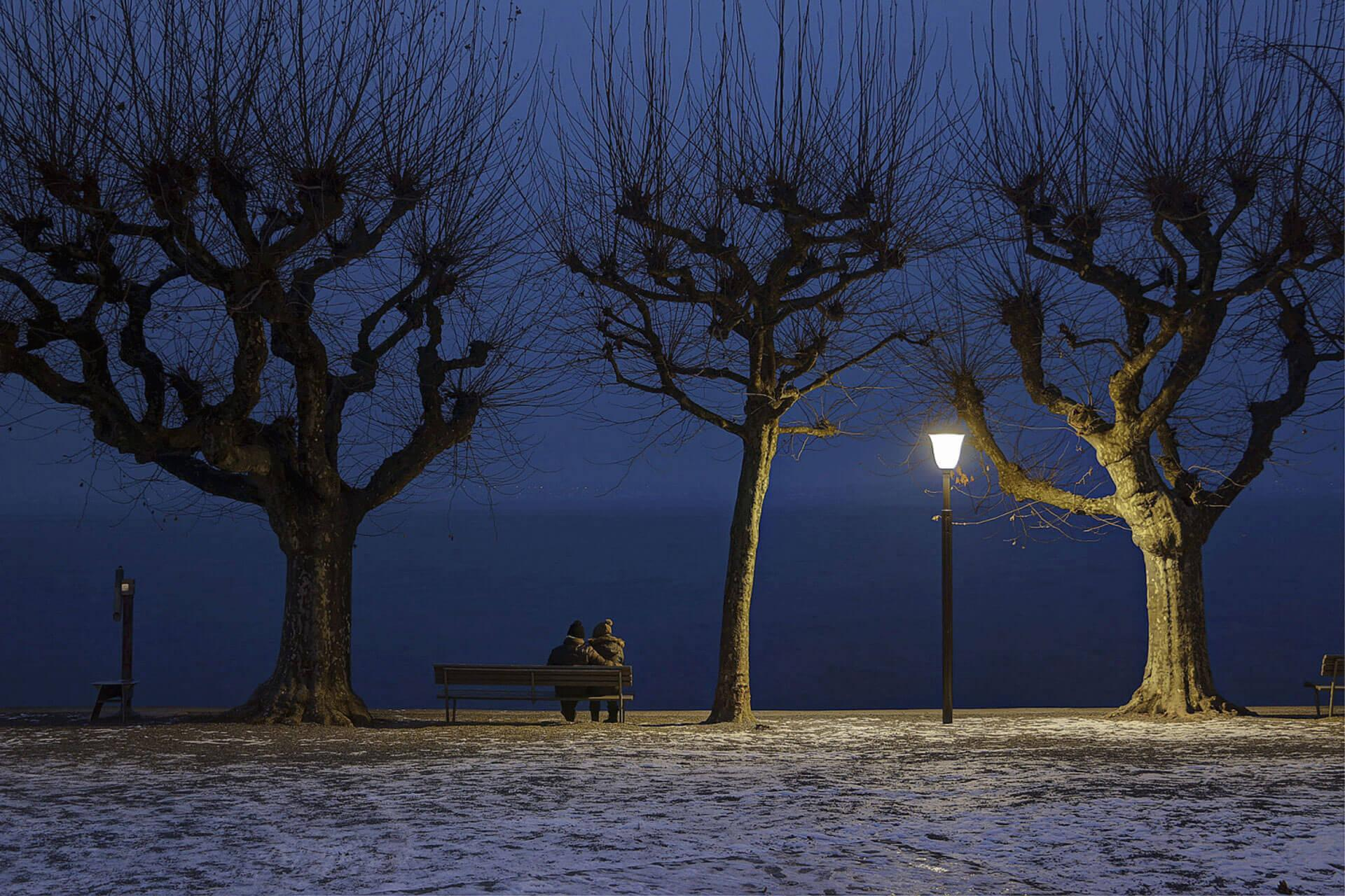 Schréder luminaires light this waterfront so people can admire the stunning landscape all year long